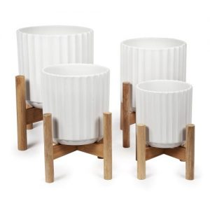 Ridge Pot with Wooden Legs in White