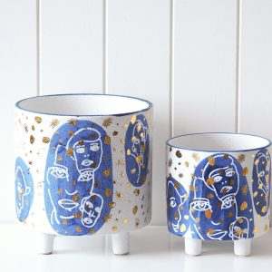 Abstract Planter White Blue Gold HG203